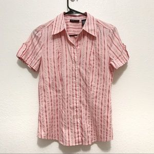 NYC Pink and Silver Stripe Button Shirt BOGO